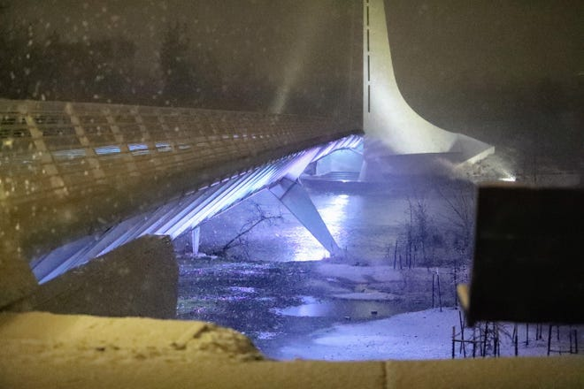 The Sundial Bridge in Redding and other parts of Shasta County saw snowfall as part of a winter storm in the area on Tuesday, Jan. 26, 2021.