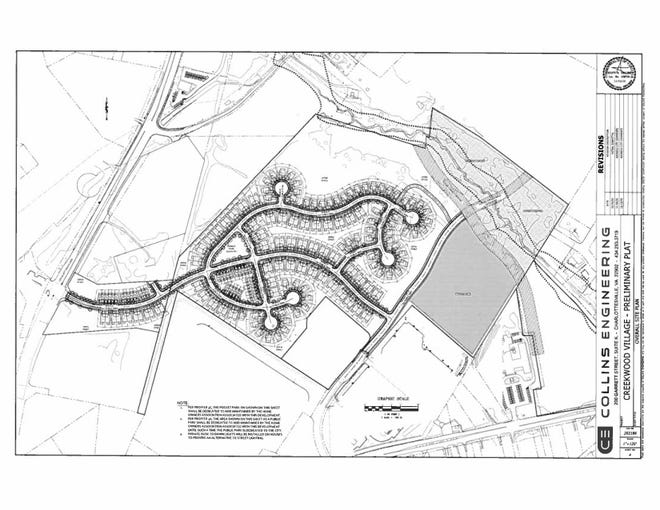 Proposed residential development in Wayensboro off Lew Dewitt Boulevard linking up to Tiffany Drive. The land would be divided into 208 residential lots with 62 single-family detached units, 110 single-family attached units and 36 town homes.
