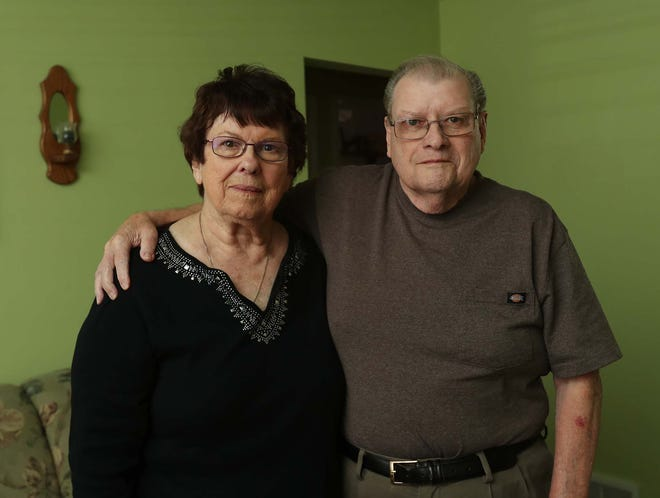 Bernie and Jim Irwin at their home in Barberton. Jim Irwin received a 1099 tax form recently for more than $17,000 in unemployment benefits that he didn't apply to receive.