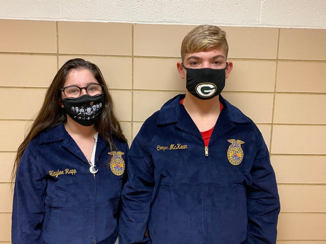 Black River FFA members with their blue jackets from the Blue Jackets program are, from left, Haylee Rapp and Cooper McKean.