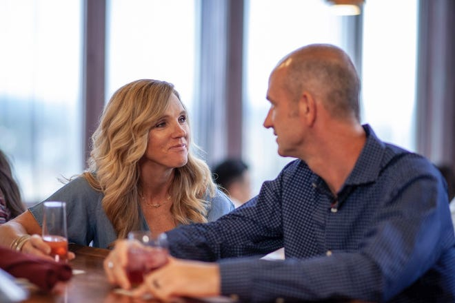 Jim and Patty Thompson enjoy a night out at Copper, located on the Price Tower's 15th floor.