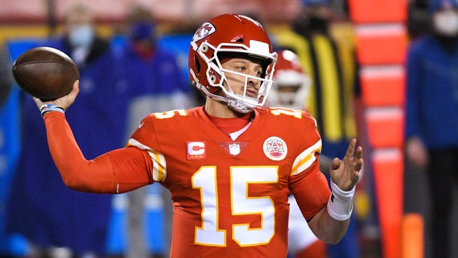 Kansas City Chiefs quarterback Patrick Mahomes throws against the Buffalo Bills during the AFC Championship Game on Sunday in Kansas City, Mo.
