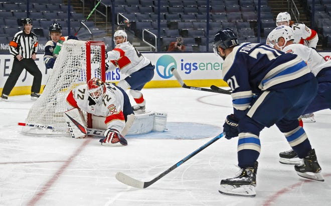 Blue Jackets captain Nick Foligno (71), here seeing a shot against Florida on Tuesday saved by goaltender Sergei Bobrovsky, said the Jackets are better than their 1-of-19 showing on the power play this season.