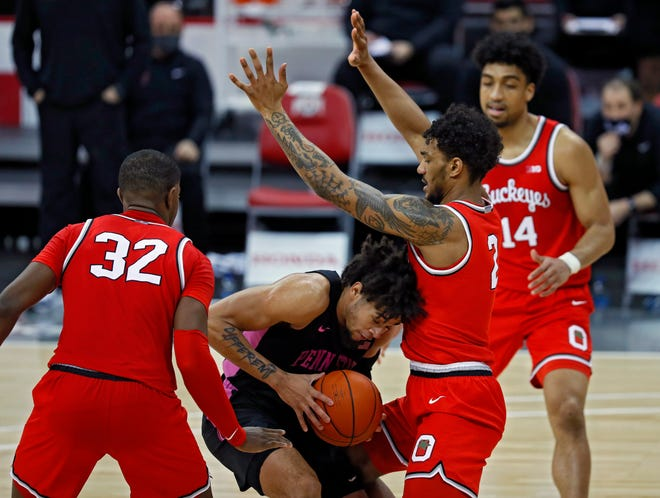 Ohio State Buckeyes guard Musa Jallow (2) forces a turnover on Penn State Nittany Lions forward Seth Lundy (1) during the second half of their game at Value City Arena in Columbus, Ohio on January 27, 2020.