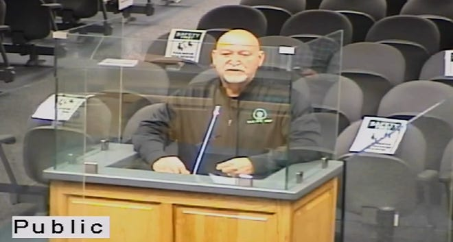 Clay Naquin, Director of Solid Waste in Terrebonne Parish addresses the council about the waste and litter issue in the area.