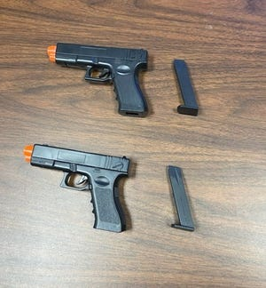 Holly Hill confiscated these Airsoft pistols from a Holly Hill School student who brought them to campus. The student also allegedly shot a student Wednesday with a similar pistol that another student brought to school. That student has also been arrested.