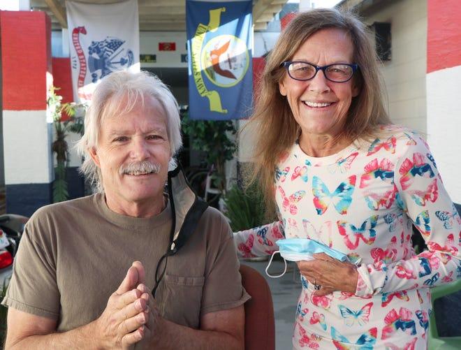 Veterans David Wheeler and Sharon Naumaiskis, Thursday January 28, 2021 at the Barracks of Hope shelter in Daytona Beach.
