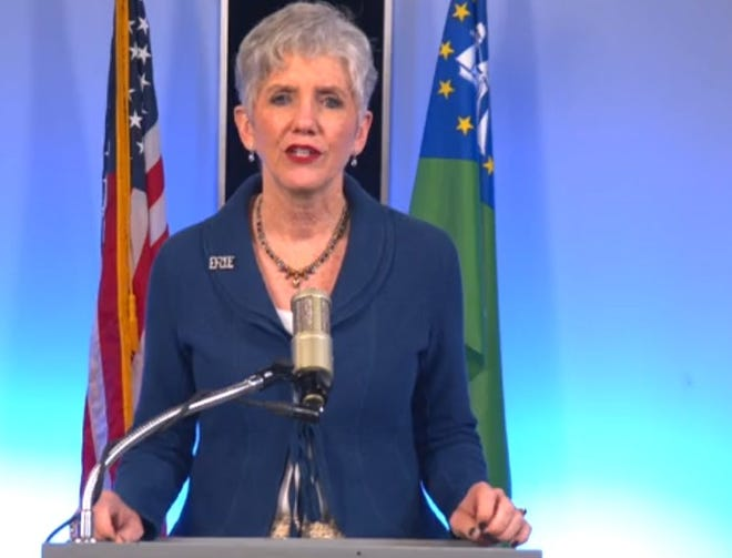 In this screenshot, Erie County Executive Kathy Dahlkemper gives her annual 'State of the County' address Thursday.