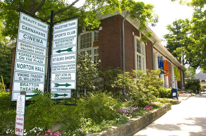 Signs help visitors to Chautauqua Institution find the attractions in this 2005 file photo.
