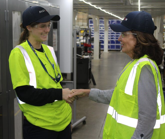 Lt. Gov. Kathy Hochul, right, visits rail manufacturer Alstom's facility in Hornell, N.Y., in 2019. The company is working on the next generation of high-speed trains.