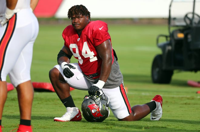 Tampa Bay Buccaneers defensive lineman Khalil Davis (94) takes a break during camp. Davis, a Blue Springs High School graduate, will get to play in the Super Bowl in his rookie season when the Buccaneers take on his hometown Kansas City Chiefs on Feb. 7 in Tampa.