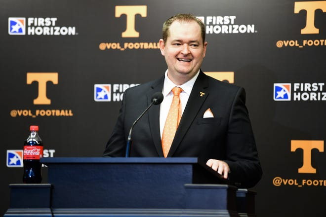 Tennessee coach Josh Heupel, seen here at his introductory press conference, knows he's stepping into an SEC grind that has sent three UT predecessors quickly to the unemployment line.