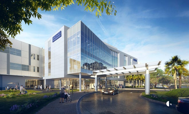 This is a rendering of the front of a new hospital planned by Brooks Rehabilitation in the Bartram Park area of Jacksonville.