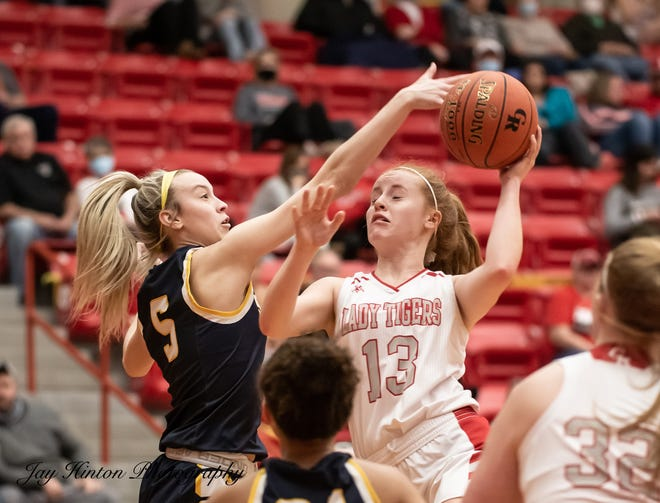Glen Rose's Abby Stephenson puts up a shot in the paint in the Lady Tigers' 39-33 win over Stephenville on Tuesday night.