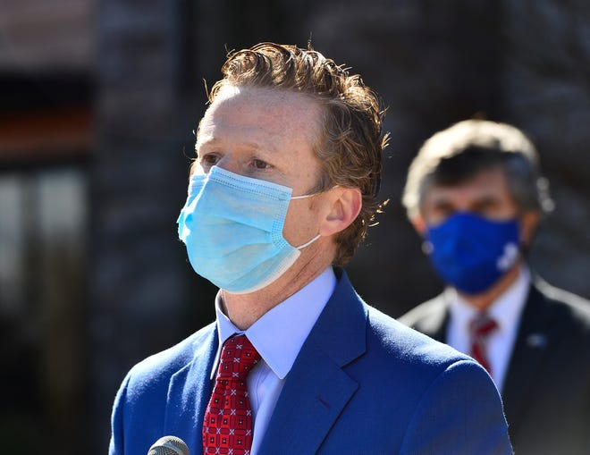Allen Smith. President/CEO at OneSpartanburg, Inc. said Spartanburg's economy is rebounding from the coronavirus pandemic. This is a file photo from a news conference held outside of the Heirloom: A Milltown Eatery in Spartanburg on Jan. 28, 2021.