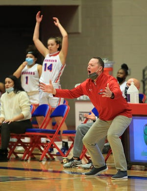 Hutchinson Community College's head coach John Ontjes reacts to a foul called on his team during their game against Coffeyville Wednesday evening at the Sports Arena. HCC defeated Coffeyville 70-63.
