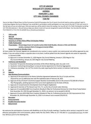 Lincoln City Council Agenda for Feb. 1, 2021