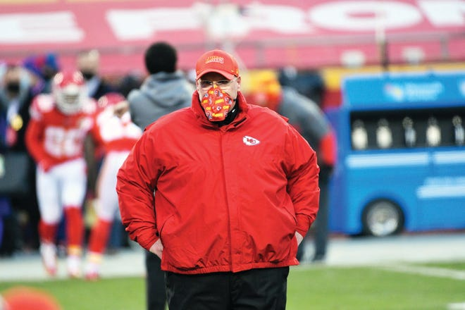 Kansas City Chiefs head coach Andy Reid walks on the field before the AFC championship NFL football game against the Buffalo Bills, Sunday, Jan. 24, 2021, in Kansas City, Mo.