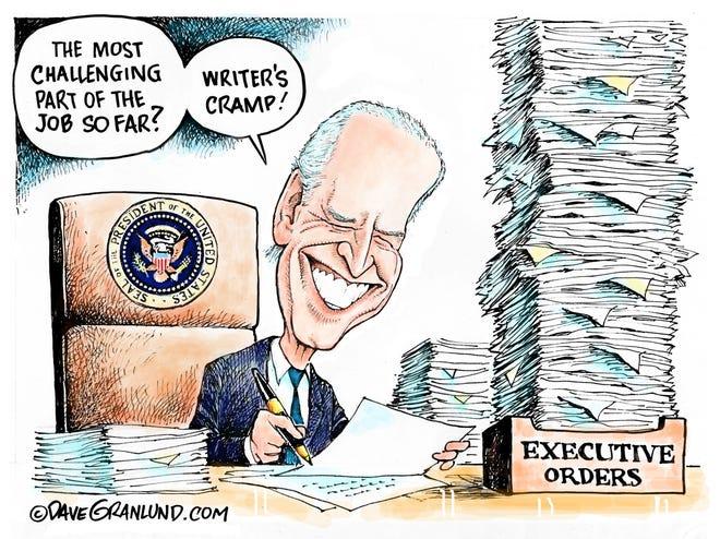 Dave Granlund cartoon on Biden signing executive orders