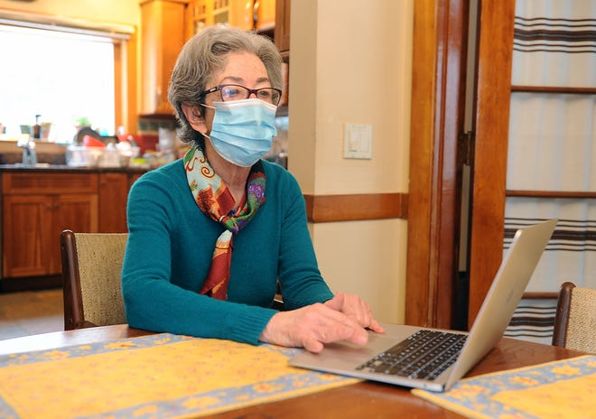 Nancy Hafkin, 78, of Framingham, had difficulty scheduling a COVID-19 vaccine using the state's online registration system, despite repeated attempts, Jan. 28, 2021.