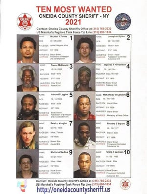 Oneida County Top 10 Most Wanted list