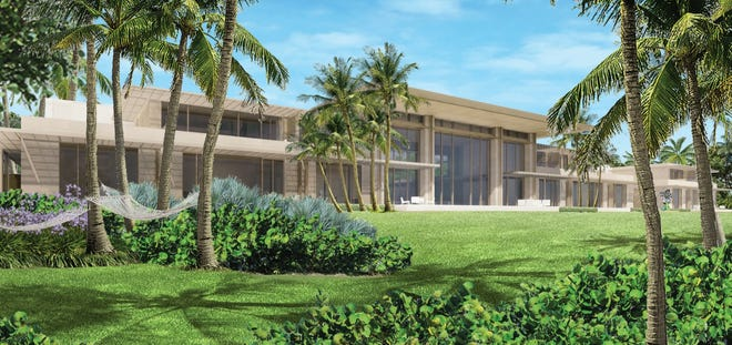 A rendering shows the oceanfront side of a mansion billionaire Ken Griffin is proposing to build on 7½ acres of his much larger estate on the South End of Palm Beach.
