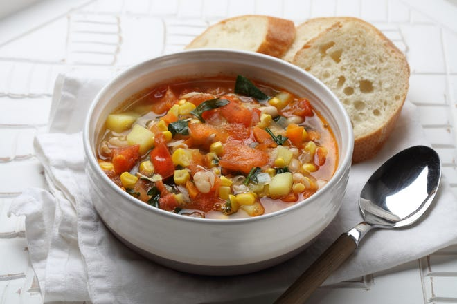 Public health guidelines suggest that we include more plant-based foods in our diets. When making soups, besides all the vegetables, such options might be beans, lentils, split peas, soy foods (like edamame, tofu, tempeh), and whole grains.