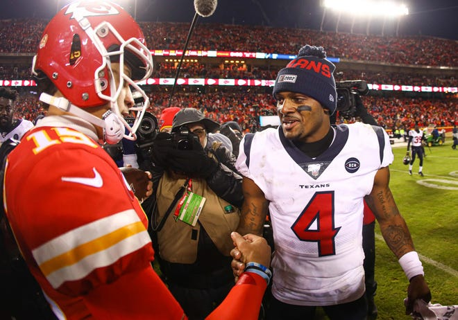 Texans quarterback Deshaun Watson, talking to Chiefs quarterback Patrick Mahomes after their AFC Divisional Round playoff game earlier this month, wants out of Houston even with a new coach coming aboard.