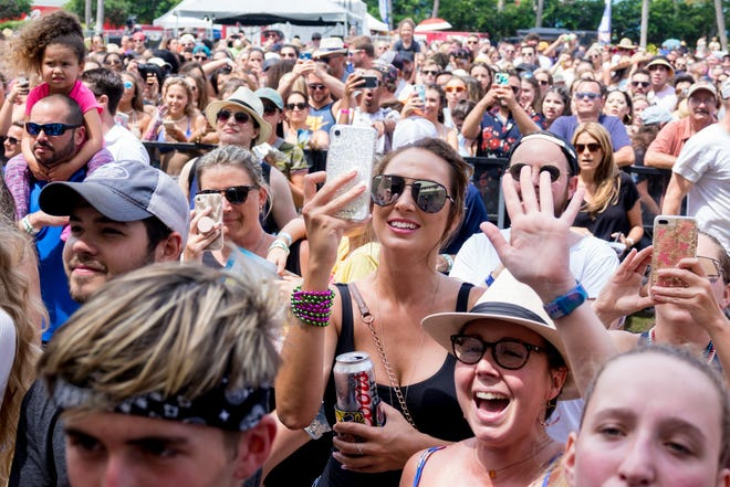 Fans watch in May 2019 as Bebe Rexha performs on the Tire Kingdom stage during SunFest in downtown West Palm Beach.