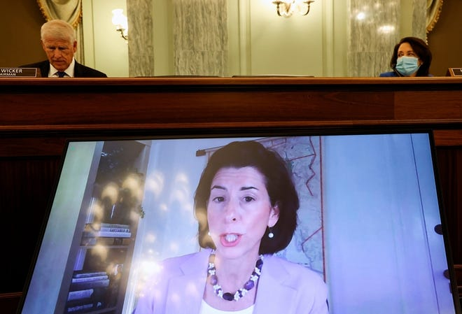 Commerce Secretary-nominee and Rhode Island Gov. Gina Raimondo testifies virtually during her nomination hearing Jan. 26.