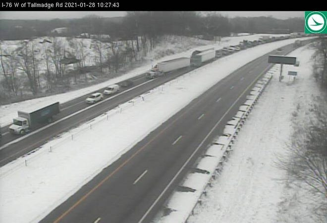 Interstate 76 eastbound is closed in Brimfield because of a crash.