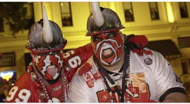 Keith Kunzig and Kenny Kunzig, die-hard Tampa Bay Buccaneers fans, are know as Big Nasty and Little Nasty. In September, Keith Kunzig was inducted into the Ford Hall of Fans at the Pro Football Hall of Fame.
