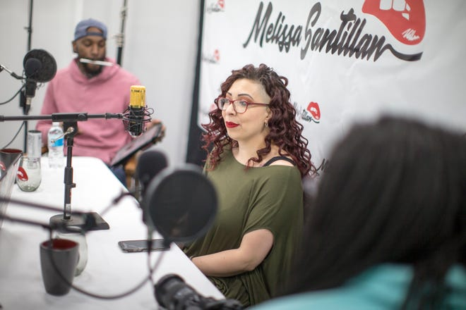 """Melissa Santillan, host of the podcast show """"Unscripted,"""" prepares for the weekly live broadcast at Test Site, 213 N. Third St., on Wednesday in Rockford."""