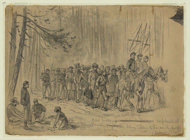The Edwin Forbes drawing of Confederate prisoners at Chancellorsville.