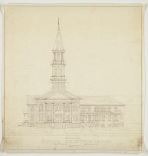 An architectural rendering of Immanuel Presbyterian, which started as a Sunday School mission from First Presbyterian in 1865.