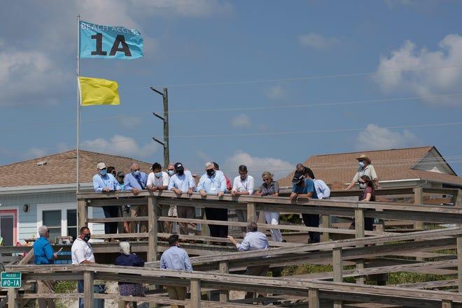 Congressmen David Rouzer and Greg Murphy visit Topsail Beach to observe beach renourishing efforts on August 27, 2020.