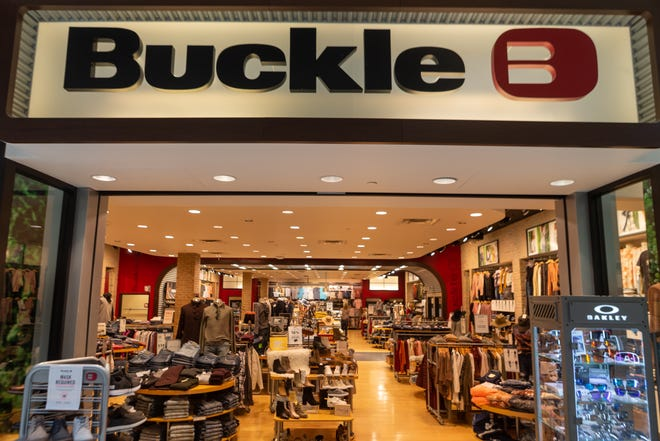 Topeka's Buckle store inside West Ridge Mall sits open for business Tuesday morning. The store will soon be relocating to West Ridge Plaza, the nearby strip mall that houses such stores as Target and TJ Maxx.