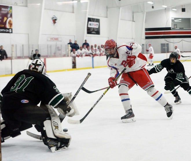 Bridgewater-Raynham hockey player Ryan Concannon takes a shot on net against Dartmouth last season.