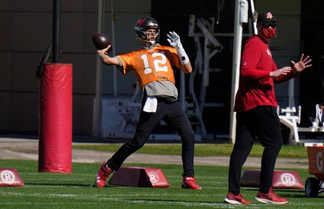Tampa Bay quarterback Tom Brady works out on Thursday.