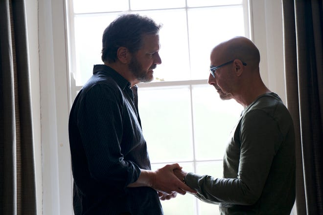 "Colin Firth, left, and Stanley Tucci in a scene from ""Supernova."""
