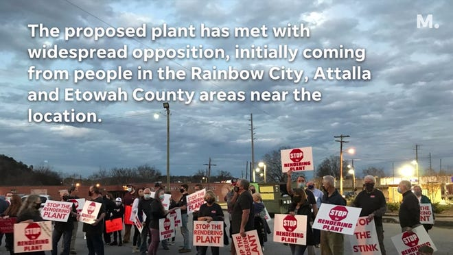 A proposed rendering plant has drawn unprecedented opposition, evidenced by social media groups and protests at Gadsden City Council meetings and other locations.