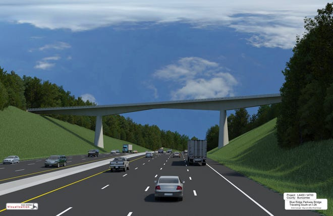 The new Blue Ridge Parkway bridge over I-26 will include some stonework touches on the top and an arch feature in the middle, as depicted in this rendering.
