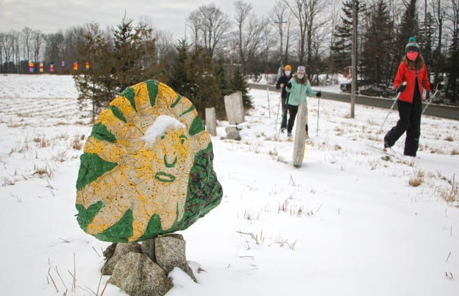 The Highland Center for the Arts lets visitors cross-country ski or snowshoe among art on the Greensboro site's property.