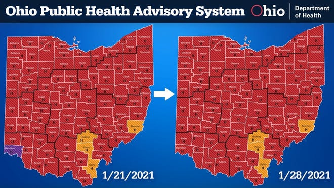 Ohio Coronavirus Public Health Advisory System, Jan. 28, 2021
