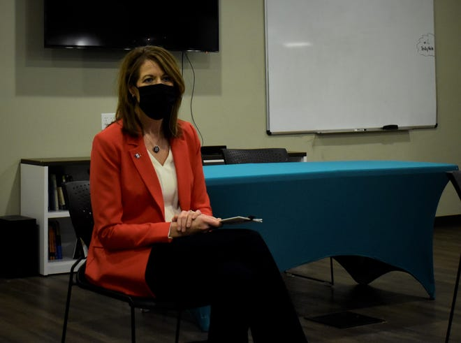 U.S. Rep. Cindy Axne talked to local farmers about agricultural issues, international trade, broadband and climate change at a town hall in Indianola on Jan. 27, 2021.