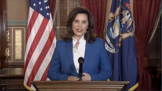 Governor Gretchen Whitmer gives the State of the State address on Wednesday, January 27, 2020.