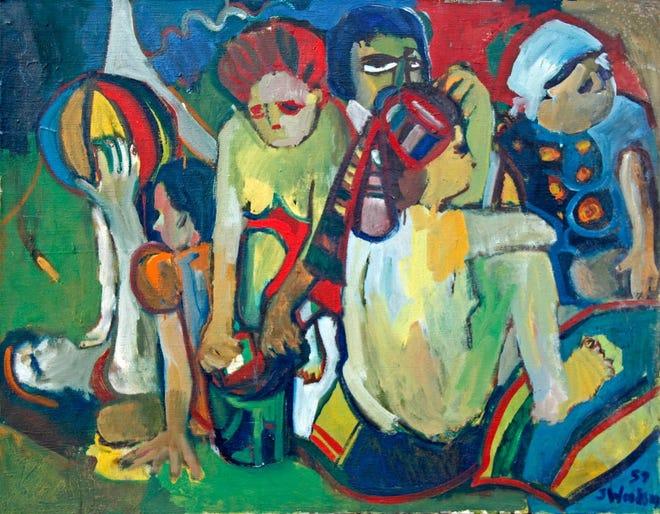 "Lukisan cat minyak karya Shirley Woodson disebut ""Di pantai."""