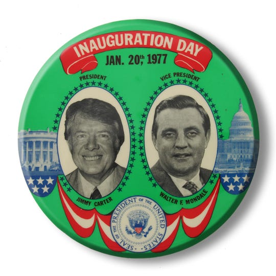 An image of an inauguration pin for President Jimmy Carter and Vice President Walter E. Mondal, dated Ja. 20, 1977.