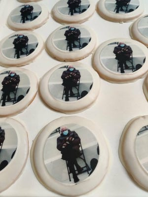 National Bakery and Deli turned the famous Bernie Sanders meme into cookies.
