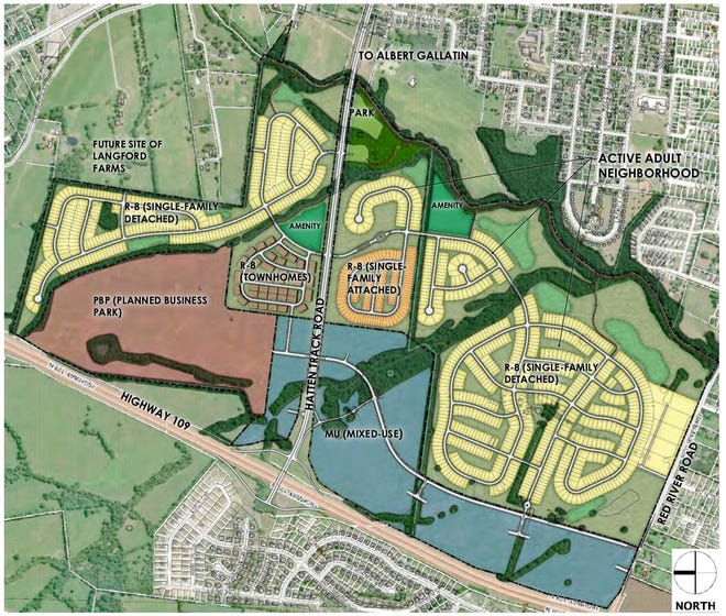A plan to build nearly 2,300 homes has been presented for Gallatin to consider near State Route 109.